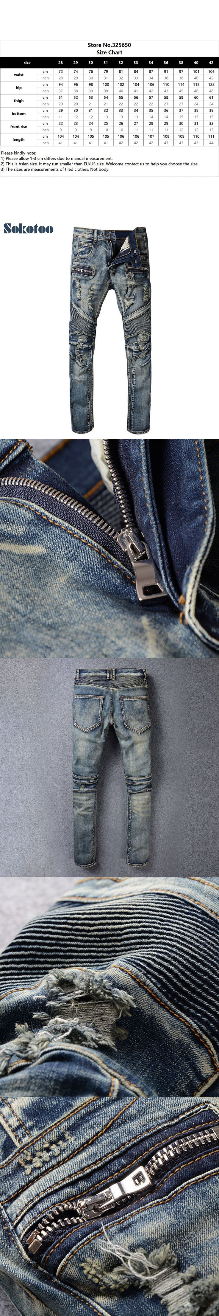 Sokotoo Men's casual holes ripped biker jeans Large size slim stretch denim pencil pants Motorcycle long trousers