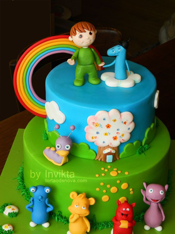 Baby TV cake featuring Charly, number one, tully, cuddlies and rainbow :)