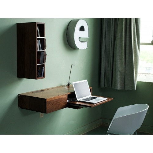 Escritorio minimalistaWriting Desks, Floating Shelves, Storage Furniture, Media Storage, Wall Shelves, Tiny Spaces, Small Spaces, Spaces Saving Furniture, Home Offices