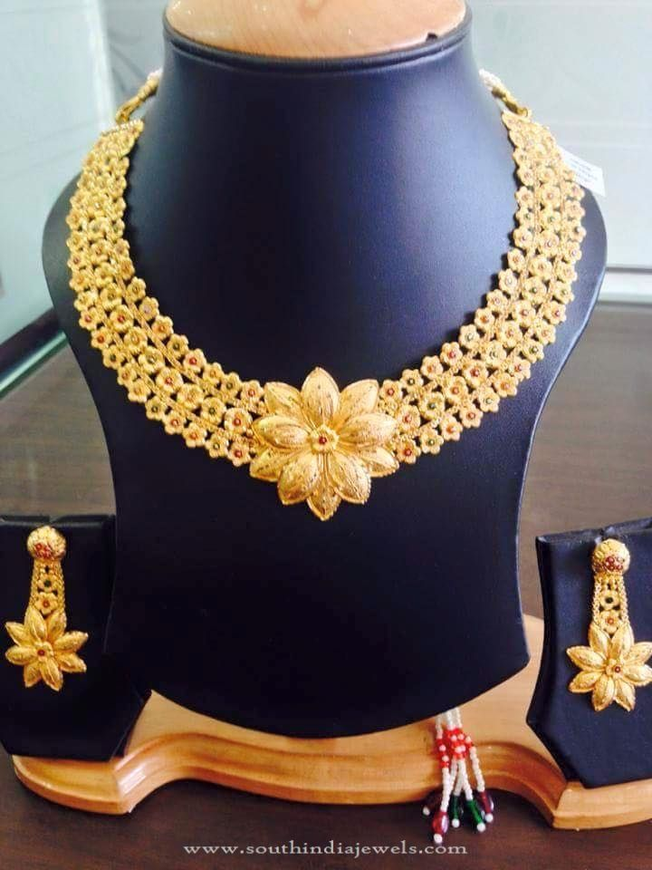 22K Gold Floral Necklace Design, Gold Designer Necklace Models, Gold Designer Floral Necklace Pictures.
