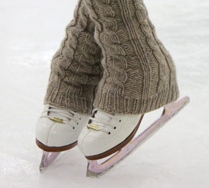 Ice Skates, pink blade guards, Cute Leg Warmers. For sale on Etsy.