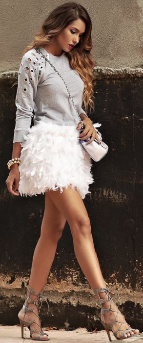 Dawilda White Feather Skirt Holiday Style Inspo Source