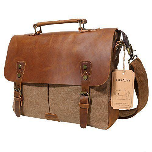 Laptop Bag Genuine Leather Retro Shoulder Carrying Case Macbook Pc 14'' Vintage #LeatherBag