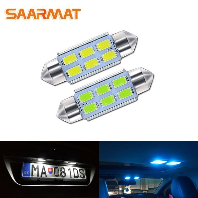 Saarmat 2 Pieces C5w Festoon 31mm 36mm 39mm 42mm Light Bulbs For Auto License Plate Lights Number Lamp Car Readi Reading Light Car License Plates License Plate