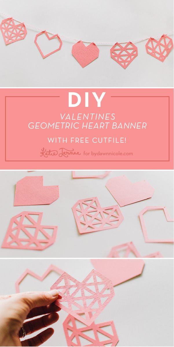 DIY geometric heart banner + FREE Cut File (SVG, PNG) | Katie Jarman for dawnnicoledesigns.com