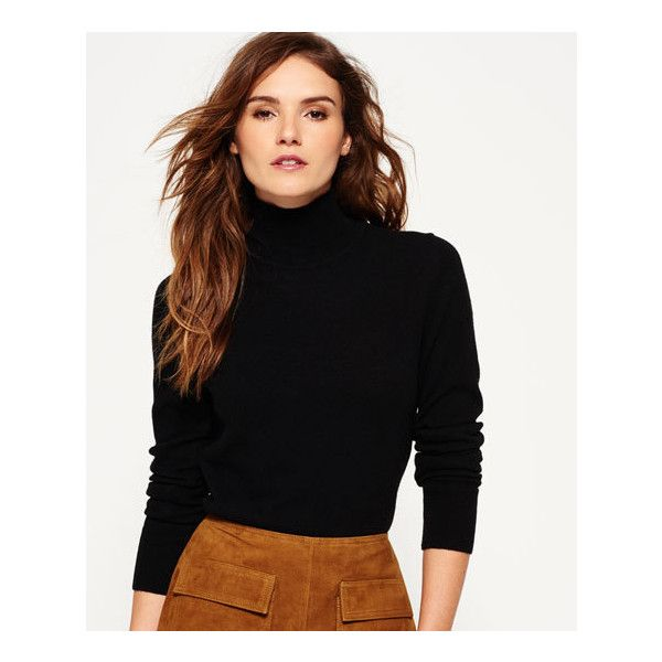 Superdry Luxe Skinny High Neck Knit Sweater (£20) ❤ liked on Polyvore featuring tops, sweaters, black, logo top, high-neck tops, superdry tops, superdry and knit sweater