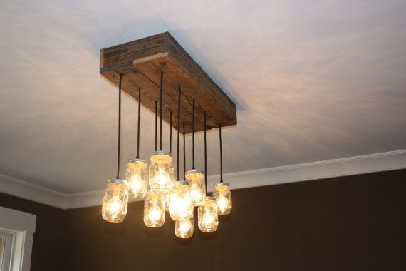 Reclaimed Pallet Wood Mason Jar Chandelier by TheHoneydew on Etsy, $340.00