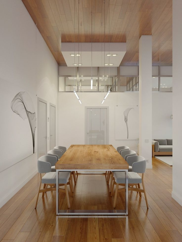 Apartments:Wooden Dining Table Wooden Striped Pattern Ceiling Wooden Striped Pattern Floor Ceiling Lights Glass Door Grey Comfy Sofa Glass Pendant Lamp Glass Ventilation Abstract Pattern Wall A Huge Apartment with Charming Simple Interior