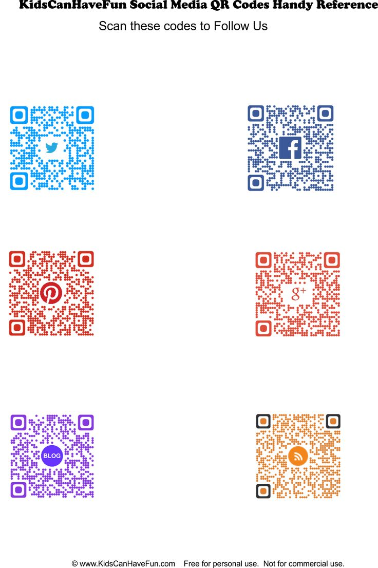 Kids Activities Follow Us QR Codes http://www.kidscanhavefun.com/qr-codes-for-kids.htm #kidsactivities #followus #qrcode