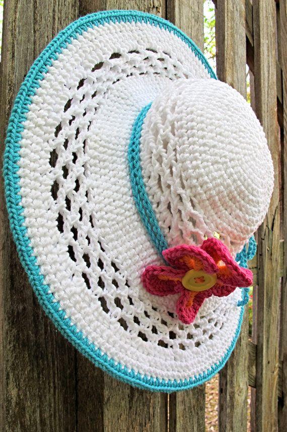 CROCHET PATTERN - Aloha - a wide brim sun hat pattern summer hat pattern beach hat in 4 sizes (Child - Adult L) - Instant PDF Download