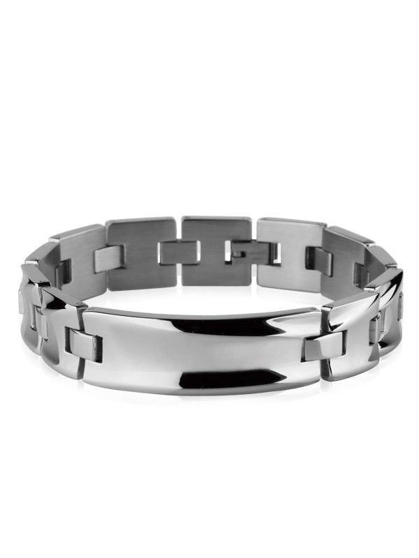 Polished stainless steel bracelet with chain links and tag that can be engraved. Model available in two colors: silver (BAD0147) and black (BAD0168). All stainless steel, titanium, tungsten and costume jewelry is delivered in free, shock-proof envelopes offered by BeSpecial.ro - online jewelry store.