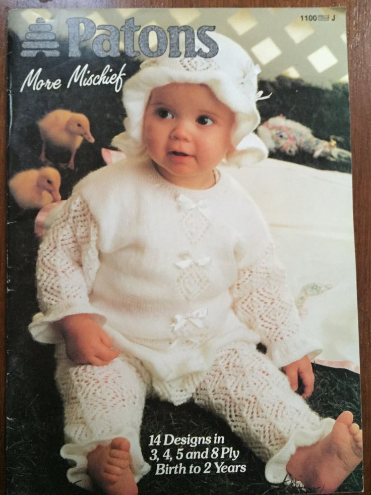 Baby knitting pattern no.1100 more mischief Patons birth to 2 yrs 14 designs…
