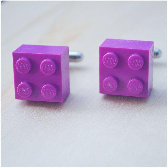 Boutons de manchette mariage avec Lego briques - boutons de manchette violet clair - liens de manchette de Hipster garçons d'honneur