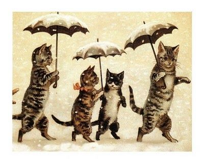 Image detail for -vintage postcard, date & illustrator unknown - cats in snow with ...
