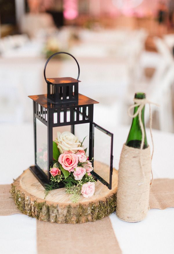 Black lantern box filled with flowers, rustic romance, centerpiece perfection // JoPhoto