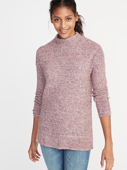 Turtleneck collar. Long sleeves. Hi-lo rib-knit hem 3a3c1bbd3
