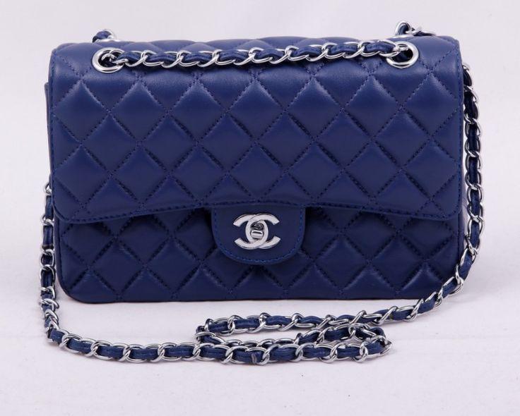 Кожаная сумка CHANEL Шанель, натуральная кожа синяя. 25х15х7см #18897