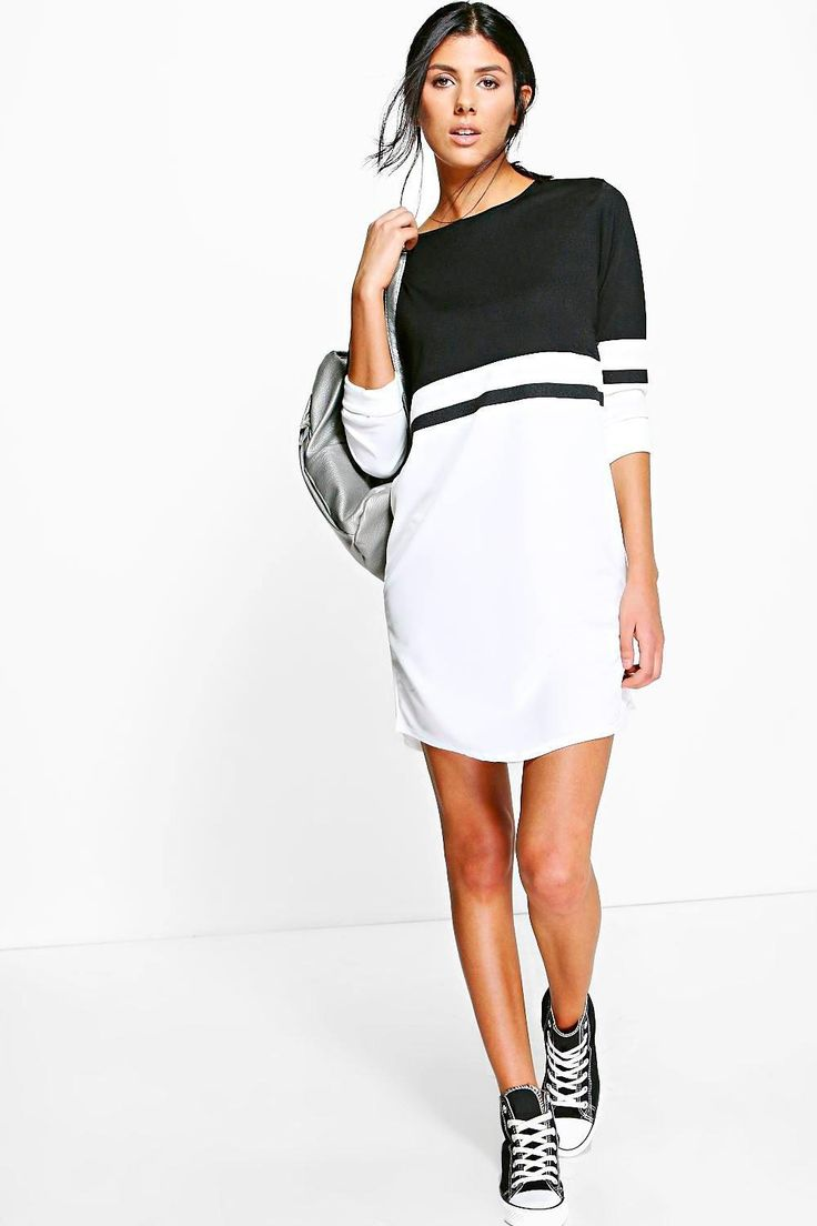 Odel Long Sleeve Colour Block Shift Dress at boohoo.com
