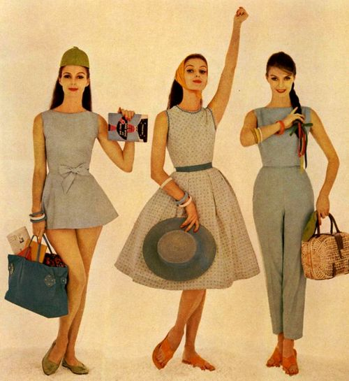 mademoiselle magazine  may 1960.  look at how what's new is really what's already been done.  the satchel on the left has been replicated frequently.