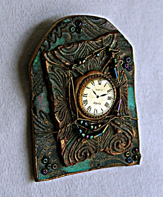 Clay Embossed Clock Pin Blue Purple and Green by raven333 on Etsy, $35.00