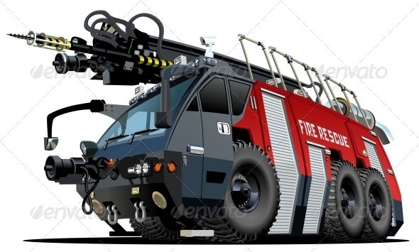 Cartoon Firetruck #GraphicRiver Vector cartoon firetruck. Available hi-res JPG…