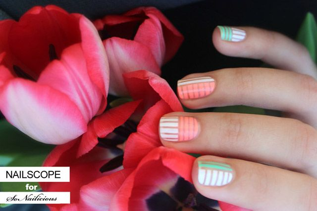Bright pastel nail art perfect for spring!