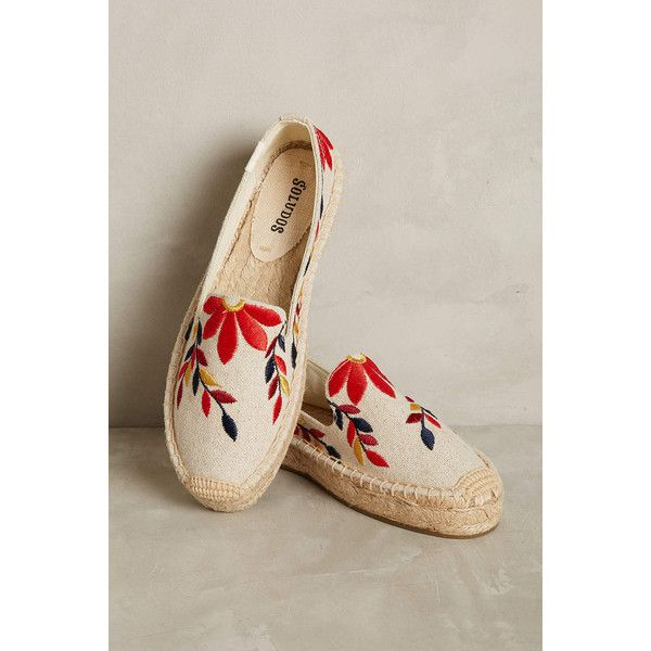 Soludos Embroidered Floral Espadrilles ($78) ❤ liked on Polyvore featuring shoes, sandals, neutral motif, espadrille sandals, soludos sandals, soludos espadrilles, brown shoes and floral sandals