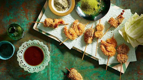 Snack like a Japanese local with our recipe for deep-fried #skewers with dipping sauce (kushi katsu). You'll find pork, prawns, fish and veges in the little battered bites.