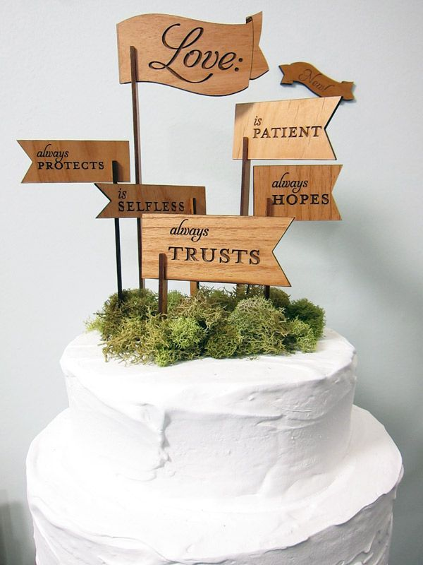 These wooden cake toppers add a personal touch to a wedding cake with unique little wooden flags listing the attributes of love.: Wedding Cake Toppers, Wedding Inspiration, Wedding Ideas, Weddings, Wedding Cakes, Weddingideas, Weddingcake