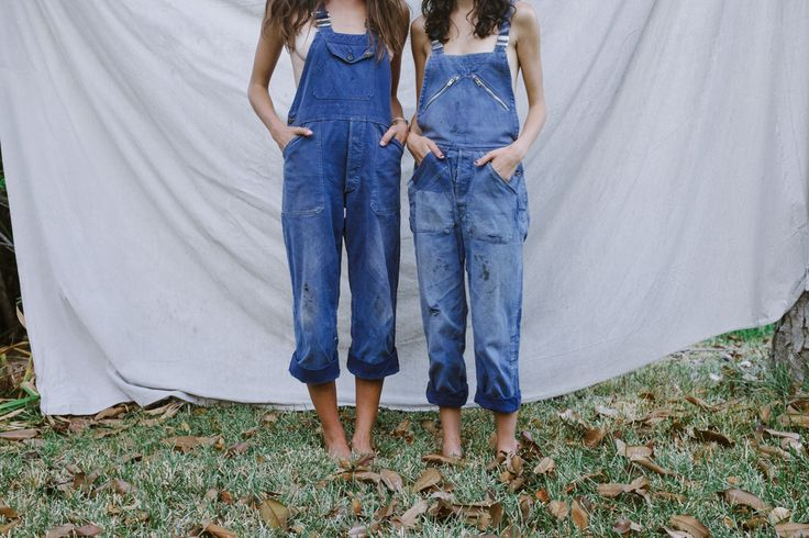 Girls in nothing but dungarees