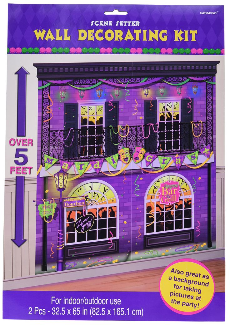 """Amscan Mardi Gras Party Scene Setters Wall Decorating Kit (2 Piece), Multi Color, 16.3 x 11.75"""""""