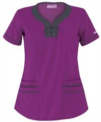 Butter-Soft+Scrubs+by+UA+Lace-Up+Neck+Scrub+Top