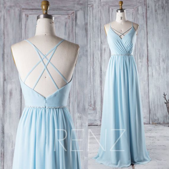 2016 Light Blue Chiffon Bridesmaid Dress with Beading by RenzRags