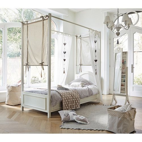 lit baldaquin 90 x 190 cm en bois blanc manosque. Black Bedroom Furniture Sets. Home Design Ideas
