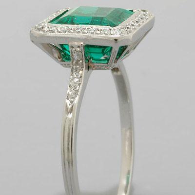 PIC S ART DECO JEWLERY | Art Deco Emerald Ring Platinum.  Visit Renaissance Fine Jewelry in Vermont or at www.vermontjewel.com