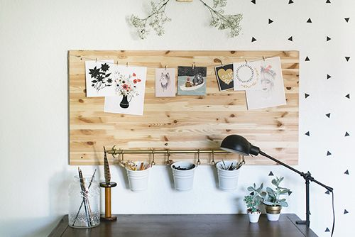 "Sneak Peek: A San Diego Home Full of Handmade Touches. ""In the long hunt for the perfect drafting table, I finally stumbled upon this one at World Market and couldn't pass up the price. I love it's vintage design and functionality.  I bought the wood table top, now mounted on the wall as my inspiration board, from Ikea to use first for my computer desk."" #sneakpeek"