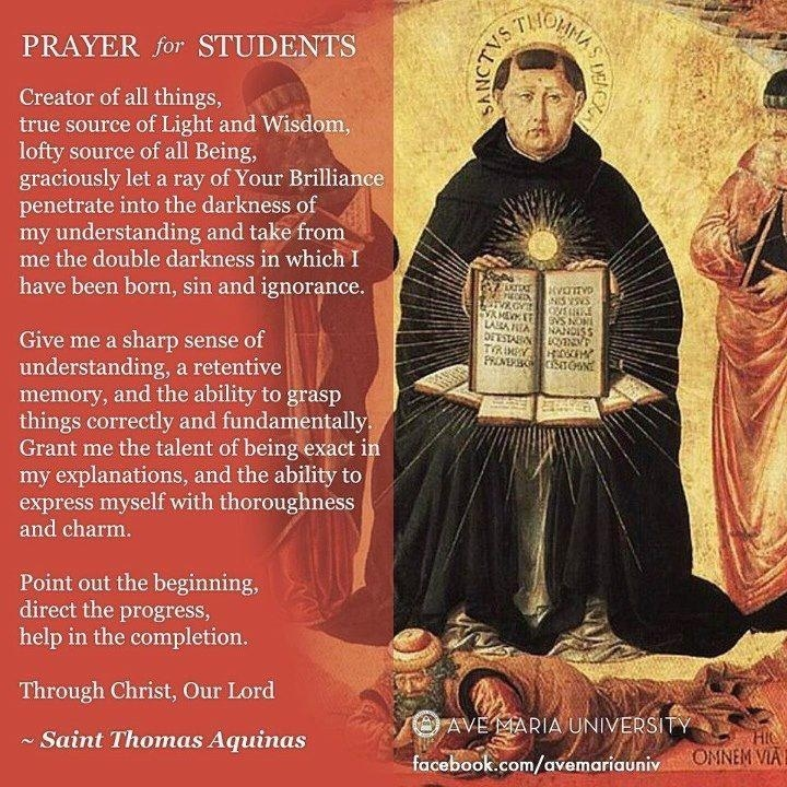 Student's Prayer - St Thomas Aquinas - for Catholic Schools Week