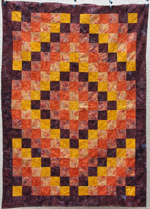 """CLEARANCE SALE Fall Sunset, Batik Patchwork Quilt by PingWynny; $139; 45x62"""""""