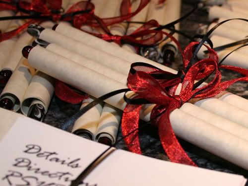 Wedding invitation scrolls (red/black/silver & blossom theme) - DIY