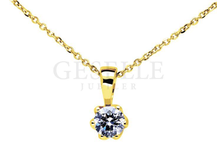 Luksusowa zawieszka z żółtego złota z brylantem 0,25 ct