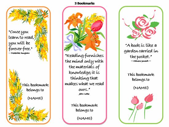 Printable Bookmarks Template (Quotes Design)