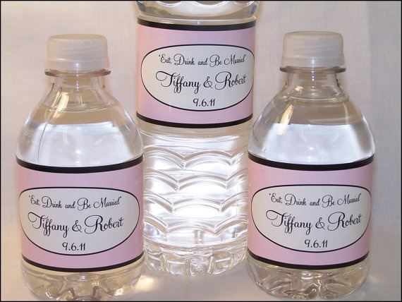 30 WATERPROOF CUSTOM WEDDING WATER BOTTLE LABELS - 100% WATERPROOF. $14.95, VIA ETSY.
