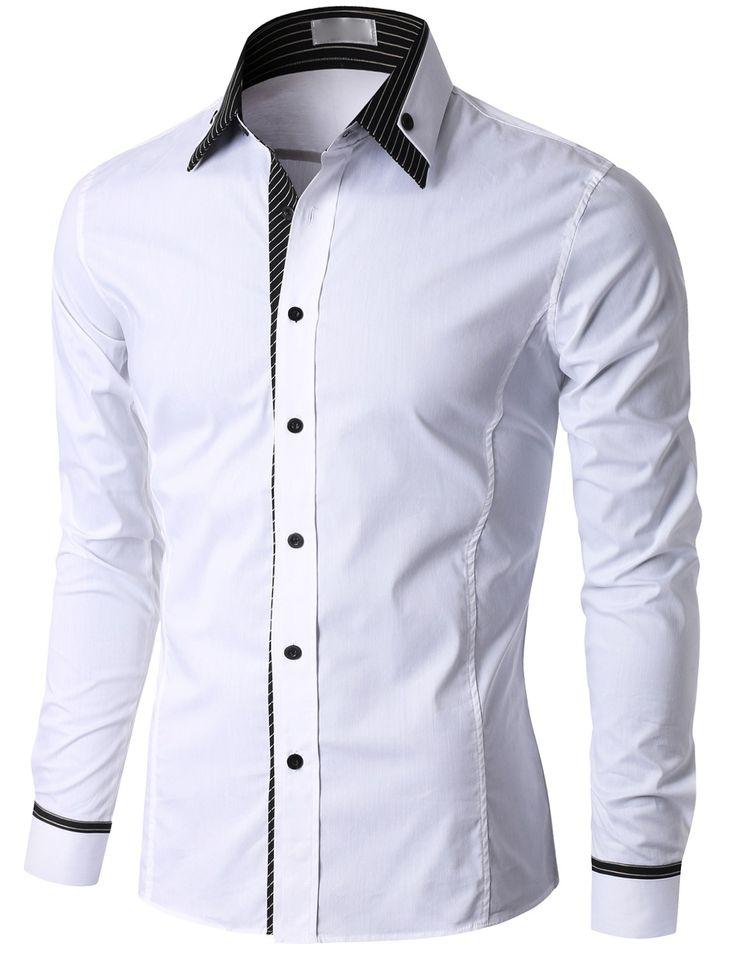 Doublju Men's Check Trimmed Long Sleeve Dress Shirt (KMTSTL0184) #doublju