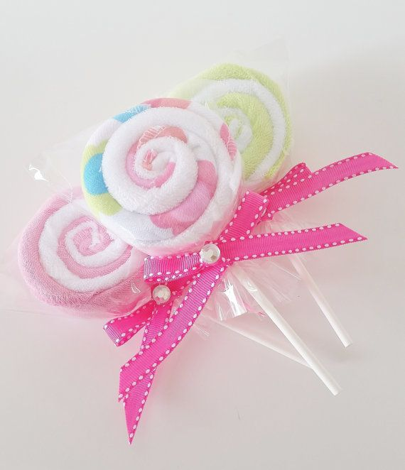 These baby washcloth lollipops are great to use as baby shower favors, baby girl shower decor or even as an additional new mom, new baby gift. This set includes three (3) washcloth lollipops. Each lollipop is made with two (2) washcloths each. You will receive one of each design shown. Each washcloth is made of soft terry cotton and measure 9x9 inches. You can use them as an add on to a baby shower gift or order a few for the new mom to be to use later. A new mommy can never have enough…