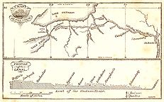 Map of the Erie Canal, and Profile of the Canal - 1852