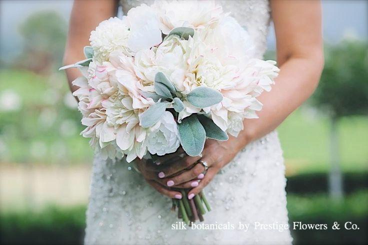 Silk botanicals: blush dahlias, peony, dusty miller leaf, by Prestige Flowers & Co.
