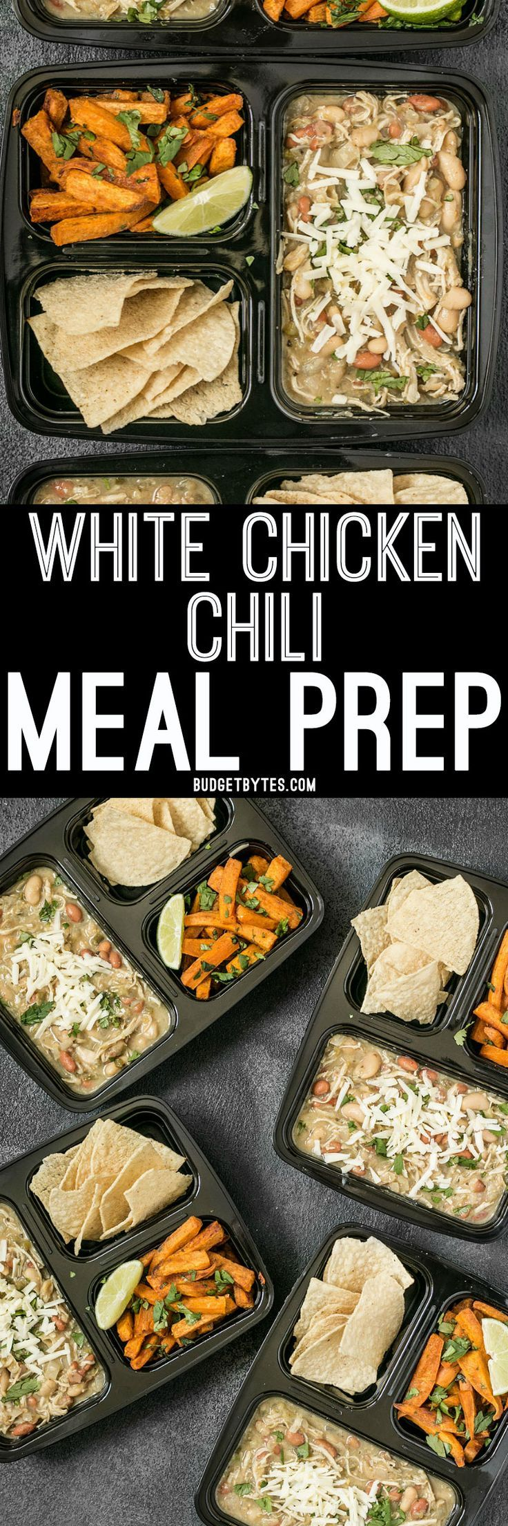 This White Chicken Chili Meal Prep includes a slow cooker chili with Cumin Lime Roasted Sweet Potatoes and tortilla chips for dipping! @budgetbytes