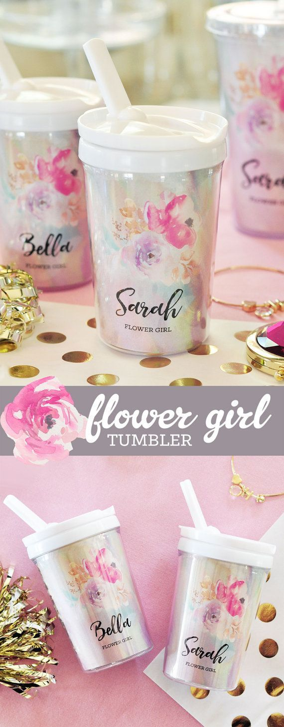 Flower Girl Gift Ideas - Personalized Sippy Cup Water Bottles make a pretty little gifts for any little girl in your bridal party.  Pair these tumblers with a cute flower girl tote bag!  by Mod Party
