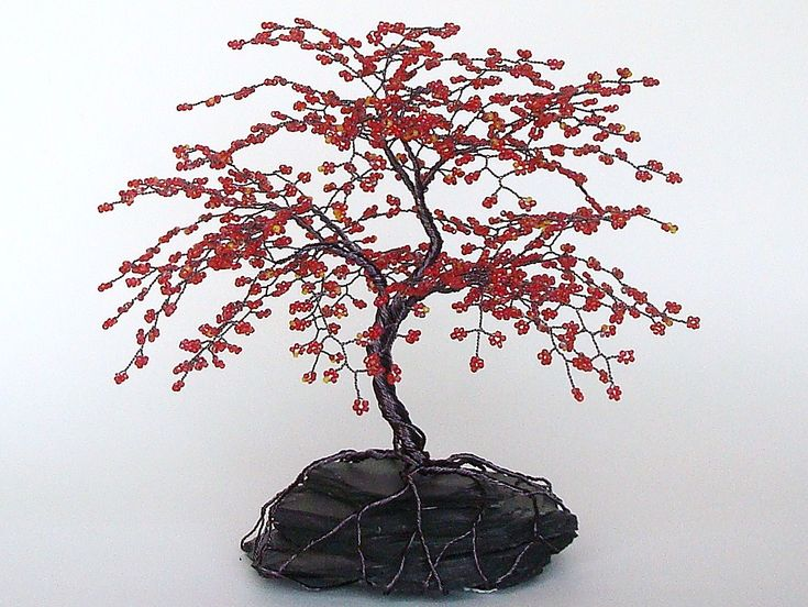 """Red Cherry Blossom Beaded Bonsai Wire Tree Sculpture 8"""" - MADE TO ORDER Custom. $120.00, via Etsy."""