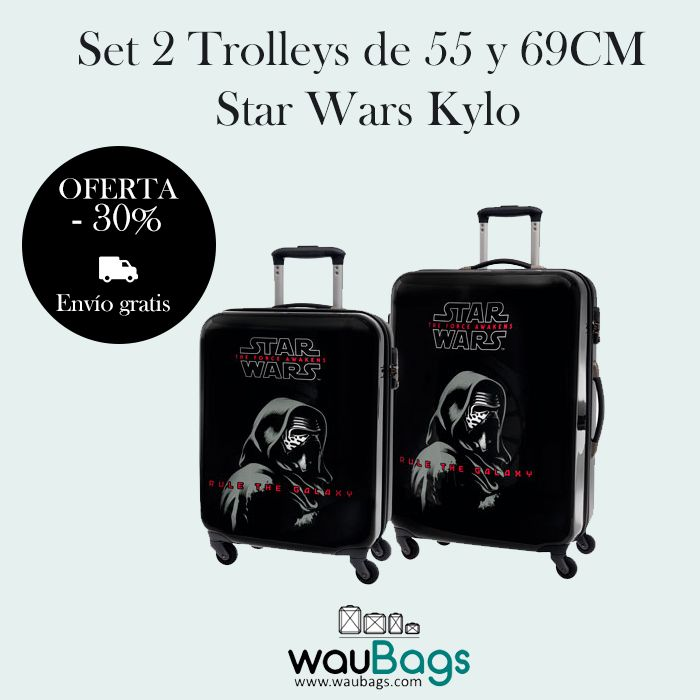 Set de viaje compuesto por 2 originales y prácticas Maletas Trolley (tamaño cabina y mediano) Star Wars Kylo. ¡¡Ahora con un 30% de descuento y gastos de envío gratis!! @waubags #starwars #trolleys #maletas #setdeviaje #oferta #descuento
